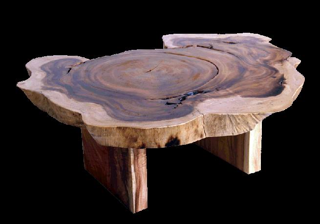 Reclaimed Tropical Hardwood Free Form Acacia Chunky Coffee Table