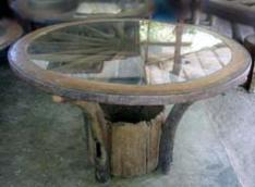 Genial Old Wagon Wheel Used In The Construction Of A Dining Table